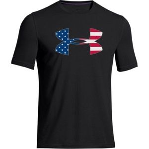 Under Armour Blue USA Flag Logo Charged Cotton Top